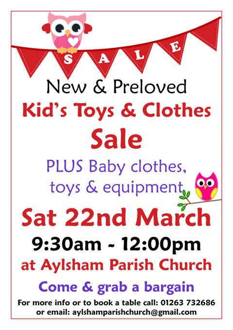 Kid's Toys & Clothes Sale - Saturday 22nd March 2014