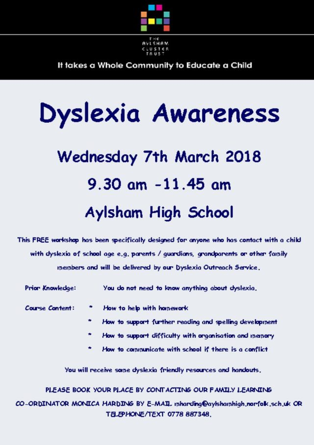 thumbnail of Dyslxia Awareness For Parents Course. Wednesday 7th March 2018